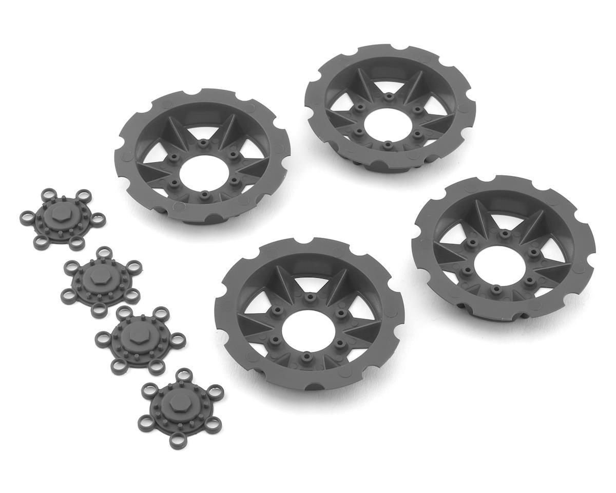 """JConcepts """"Tracker"""" Monster Truck Wheel Mock Beadlock Rings (Silver) (4)"""