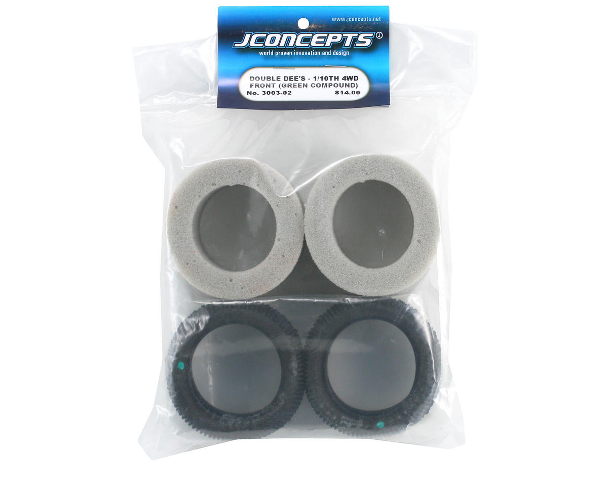 "Double Dee's 2.2"" 4WD 1/10 Front Buggy Tires (2) (Green) by JConcepts"