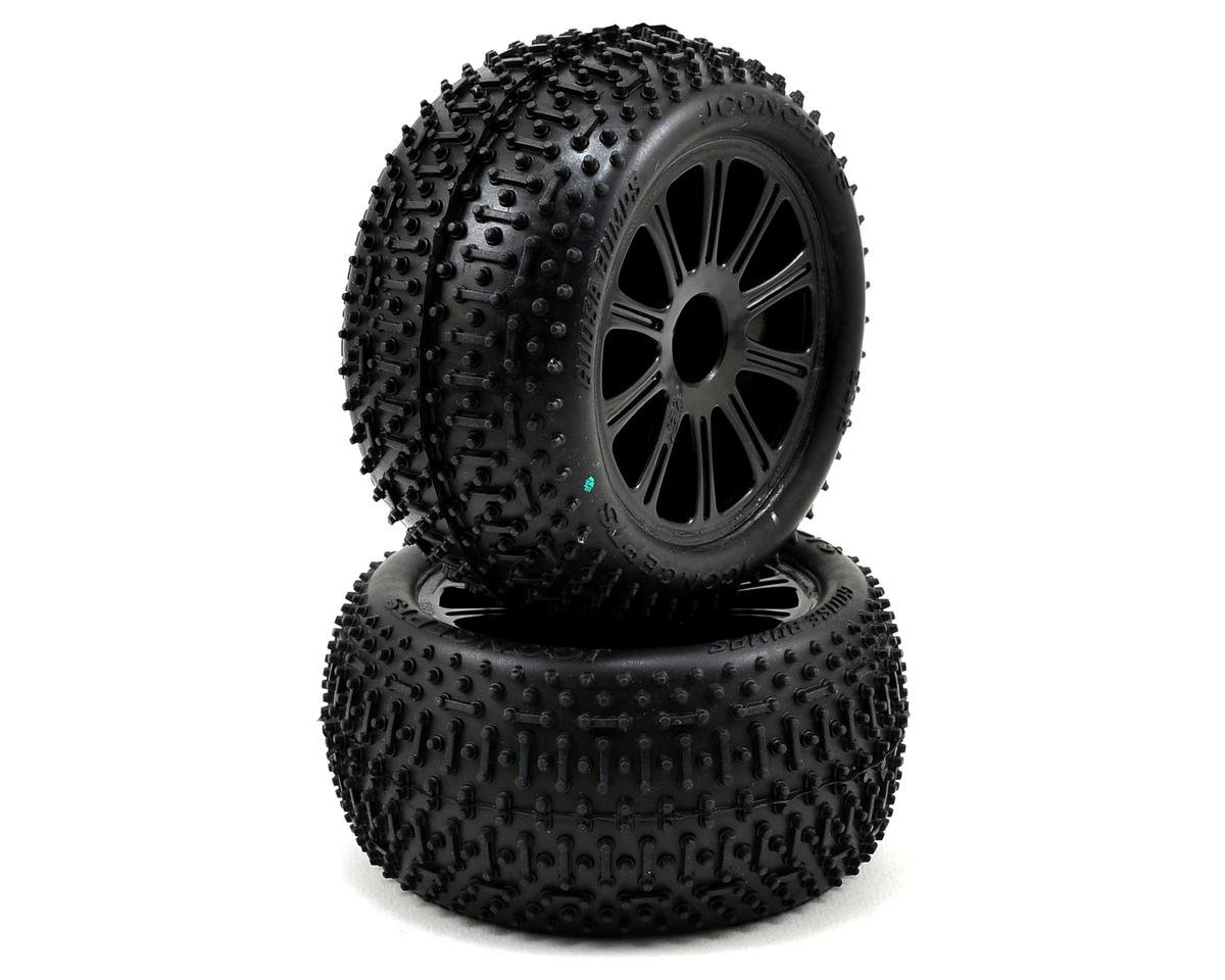 1/16 E-Revo Pre-Mounted Goose Bumps w/Rulux Wheels (2) (Black) by JConcepts