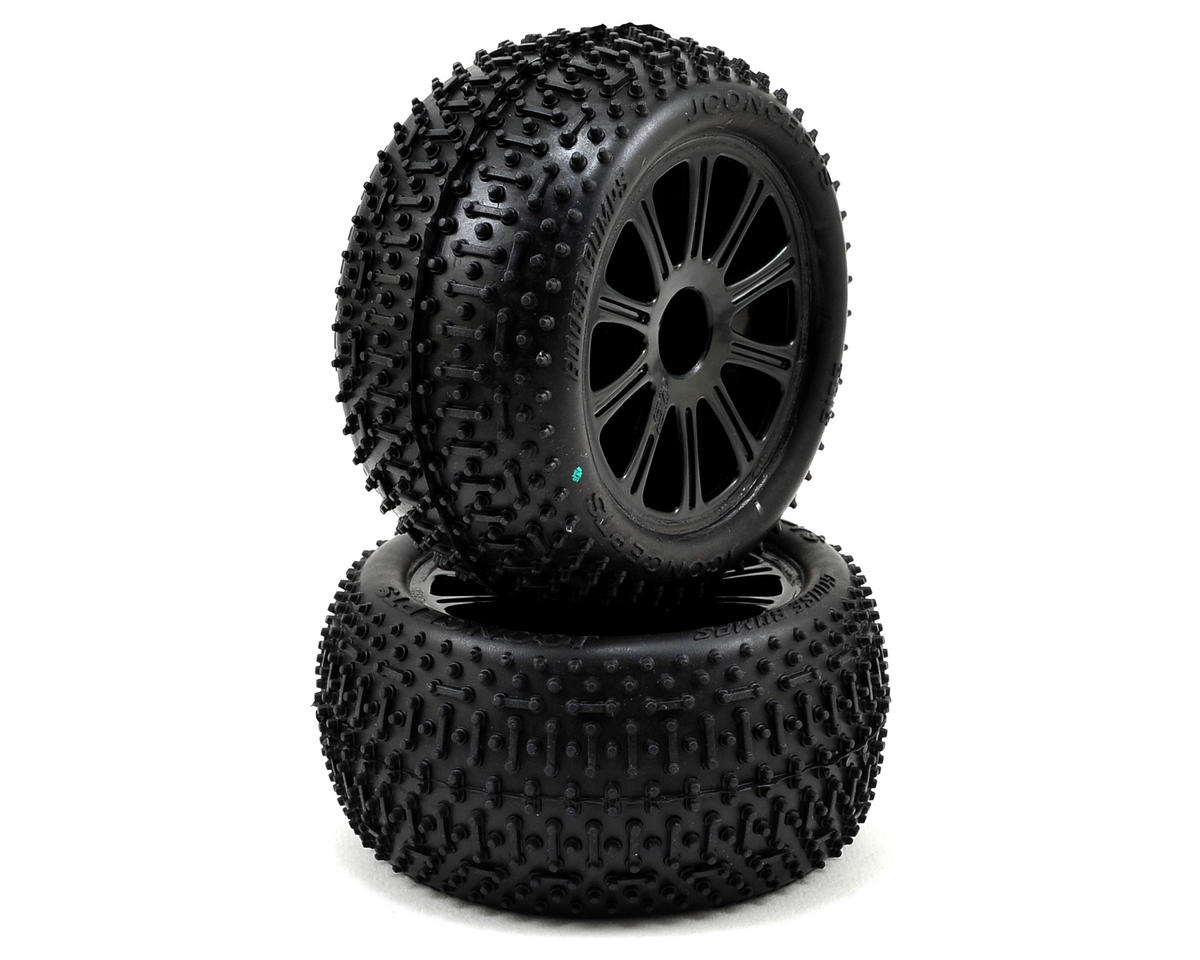 JConcepts 1/16 E-Revo Pre-Mounted Goose Bumps w/Rulux Wheels (2) (Black) (Green)