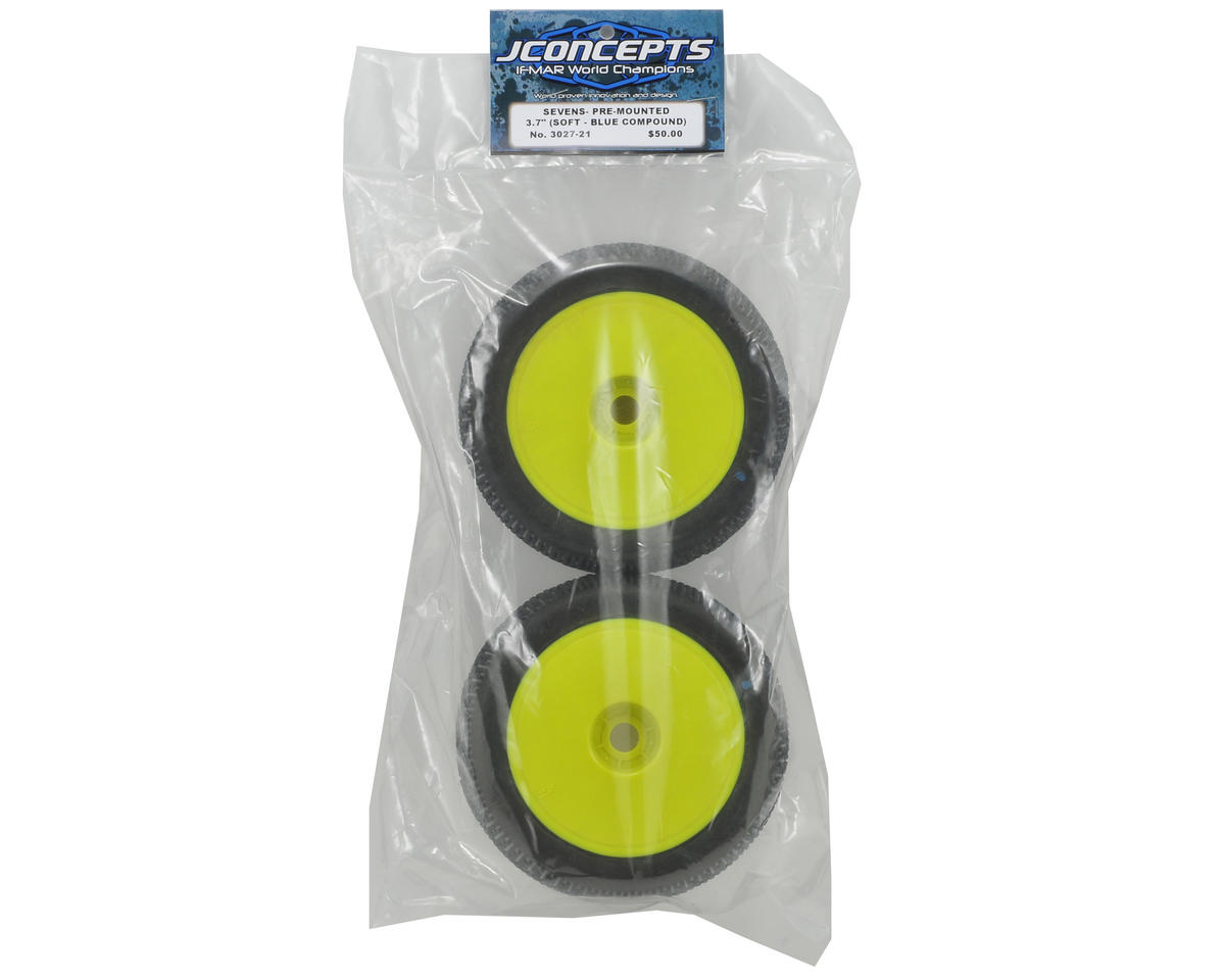 JConcepts Sevens Half-Ups 1/8th Truggy Pre-Mounted Tires (2) (Yellow)