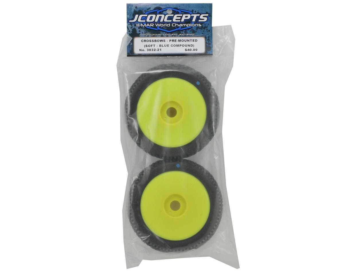 JConcepts Crossbows Pre-Mounted 1/8th Buggy Tires (2) (White)