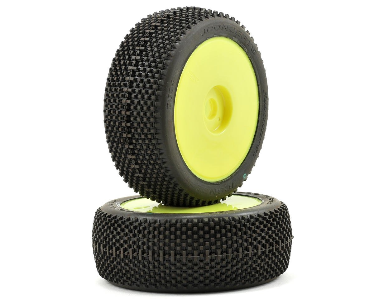 JConcepts Subcultures Pre-Mounted 1/8th Buggy Tires (2) (Yellow) (Green)