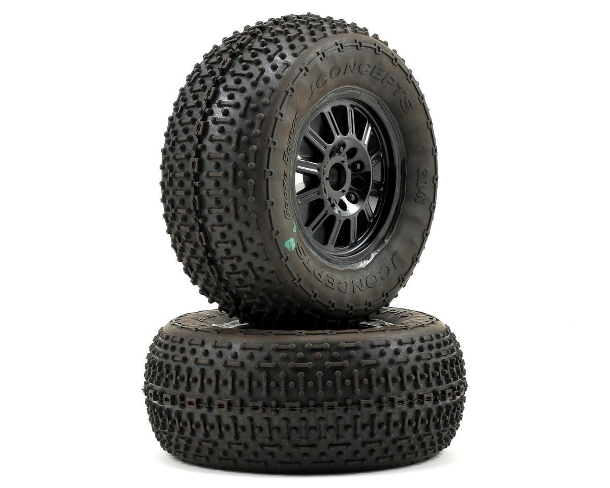 JConcepts Goose Bumps Pre-Mounted SC Tires (Rulux) (2) (SC10 Front) (Green)