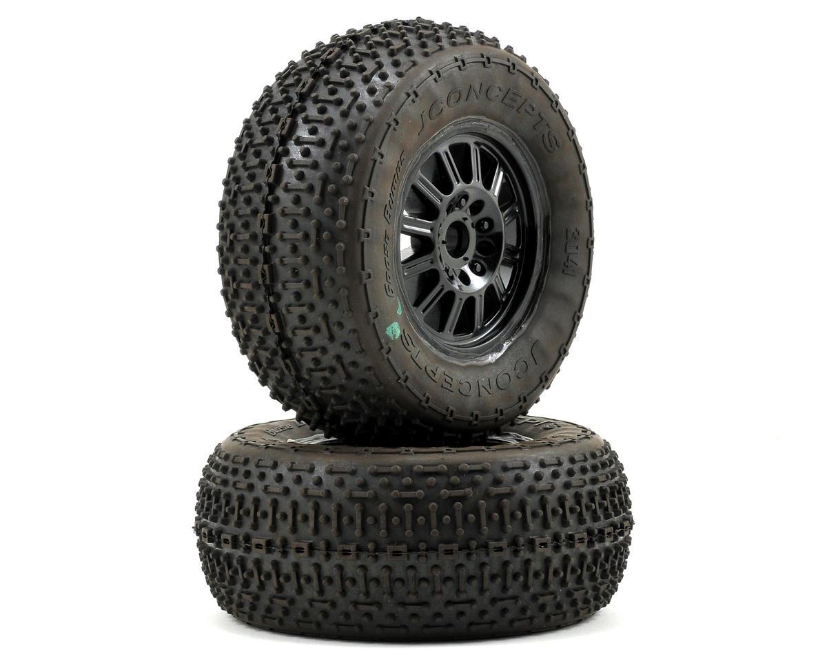 JConcepts Goose Bumps Pre-Mounted SC Tires (Rulux) (2) (SC10 Front) (Green)