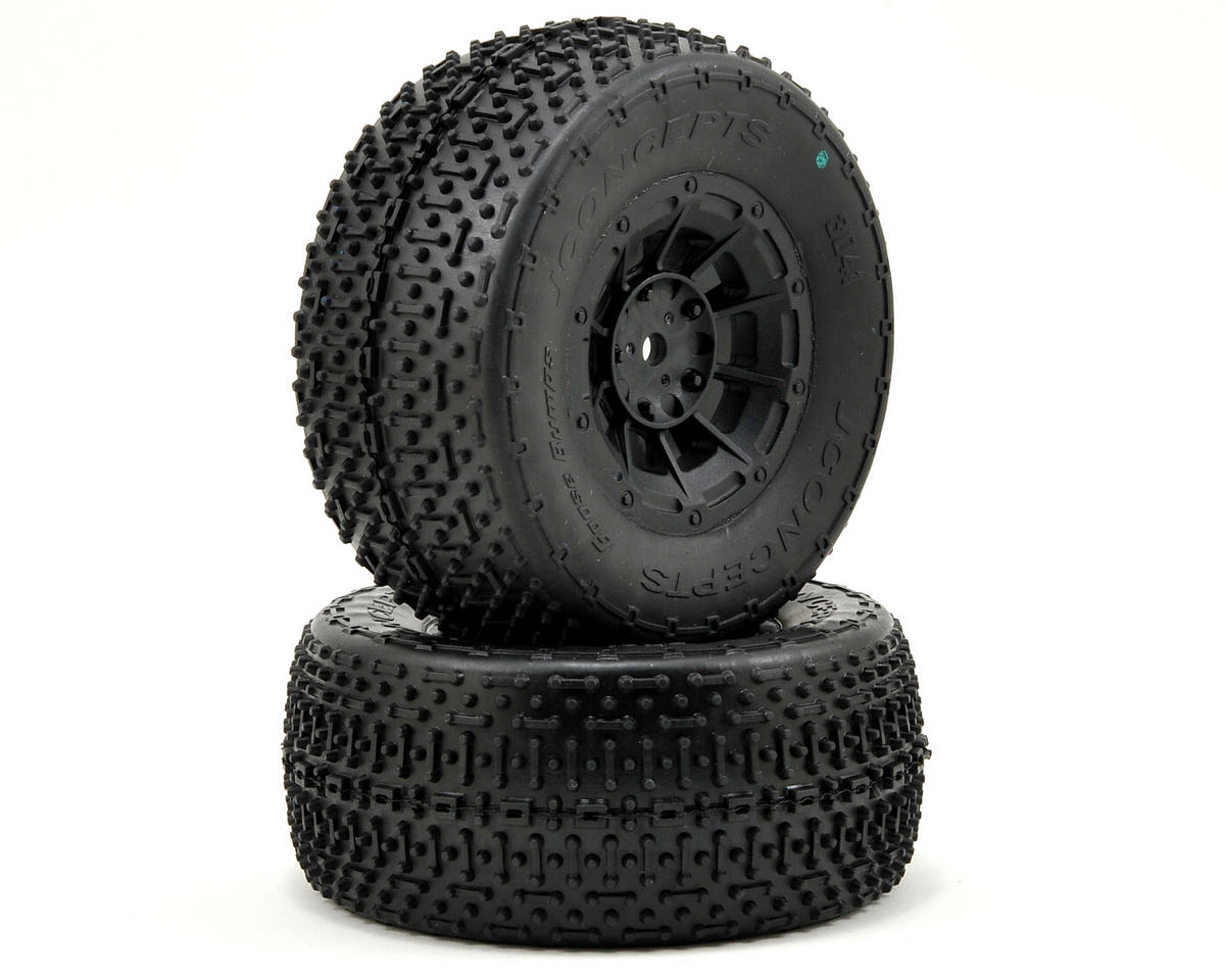 JConcepts Goose Bumps Pre-Mounted SC Tires (Hazard) +3mm Wheel (2) (SC5) (Green)
