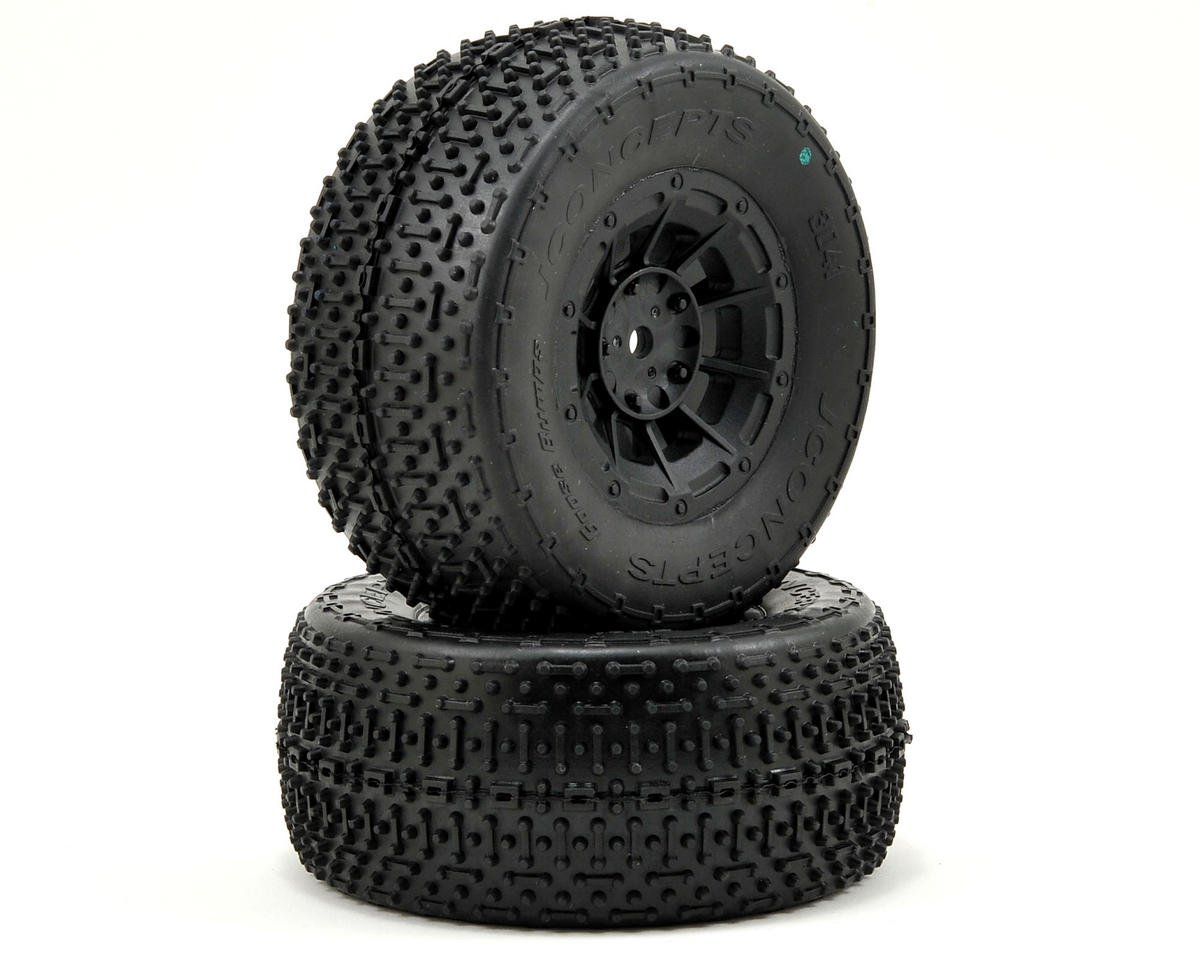JConcepts Goose Bumps Pre-Mounted SC Tires (Hazard) +3mm Wheel (2) (SC5) (Team Associated SC10 4x4)