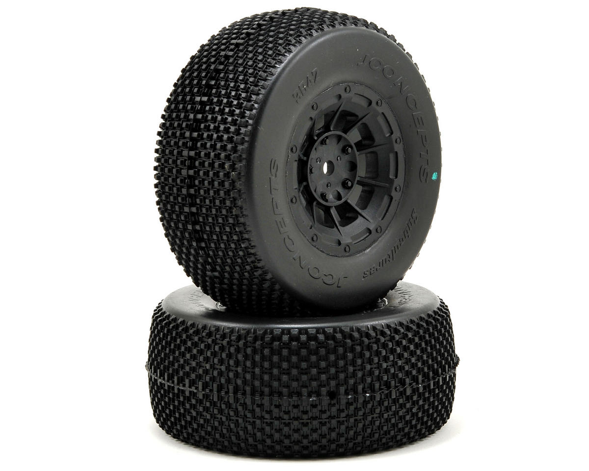 JConcepts Subcultures Pre-Mounted SC Tires (Hazard) +3mm Wheel (2) (SC5) (Team Associated SC10 4x4)