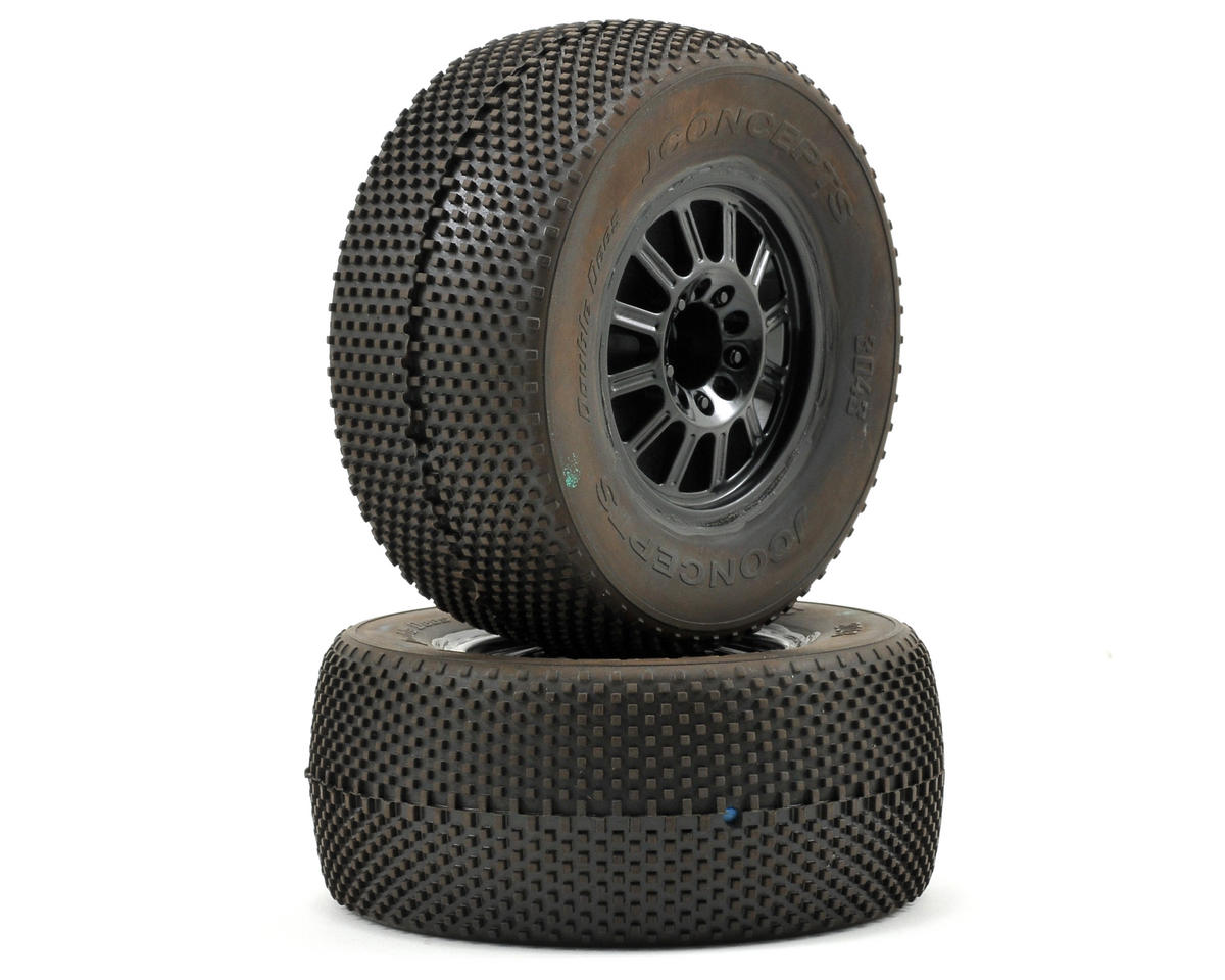JConcepts Double Dee's Pre-Mounted SC Tires (Rulux) (2) (Green)