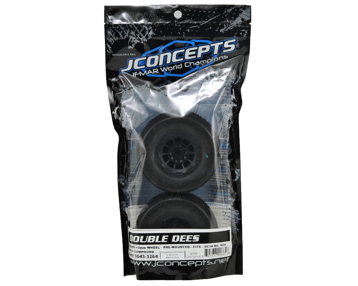 JConcepts Double Dee's Pre-Mounted SC Tires (Hazard) +3mm Wheel (2) (Green)