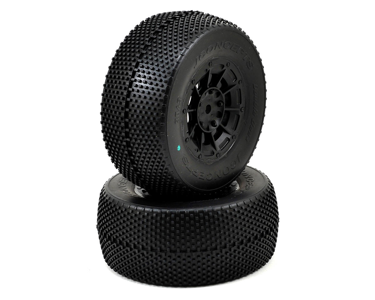 JConcepts Double Dee's Pre-Mounted SC Tires (Hazard) (2) (Black) (Losi TEN-SCTE)