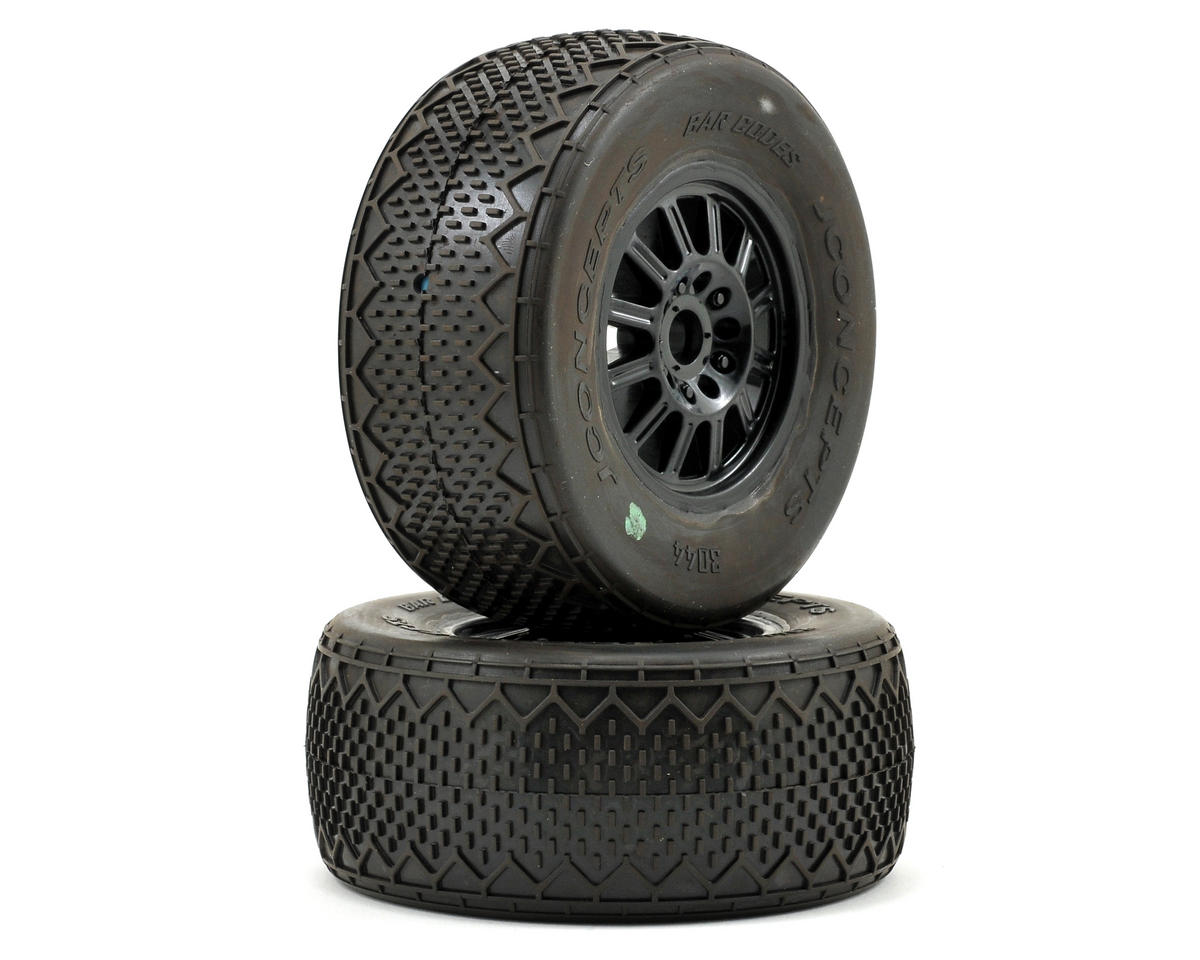 Bar Codes Pre-Mounted SC Tires w/Rulux Wheel (Green) (2) (SC10 Front) by JConcepts