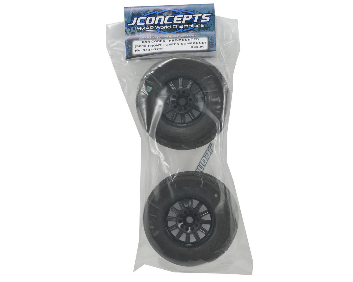 JConcepts Bar Codes Pre-Mounted SC Tires w/Rulux Wheel (Green) (2) (SC10 Front)