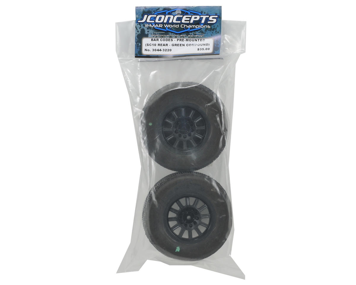JConcepts Bar Codes Pre-Mounted SC Tires w/Rulux Wheel (Green) (2) (SC10 Rear)