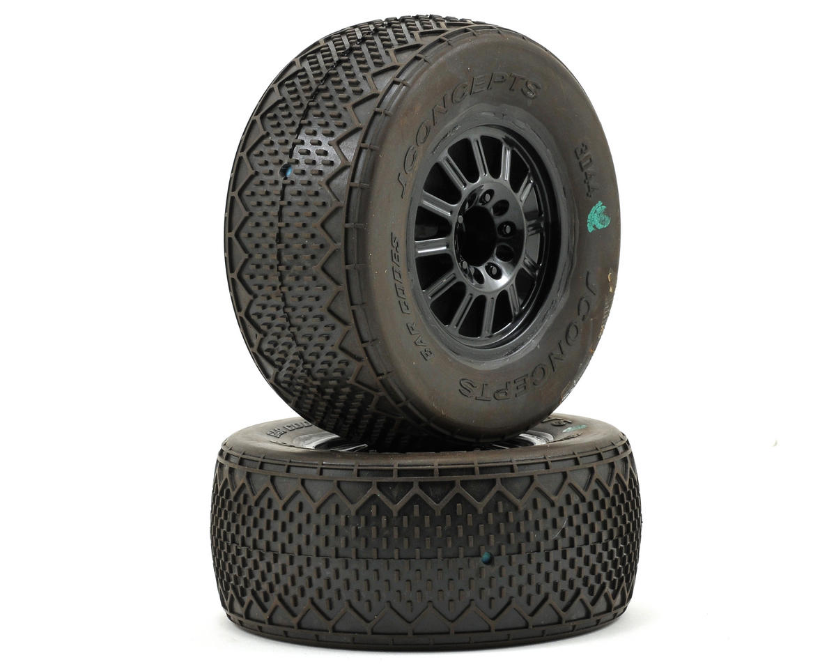 JConcepts Bar Codes Pre-Mounted Tires (Rulux) (Green) (2) (Slash Rear) (OFNA Jammin SCRT 10)