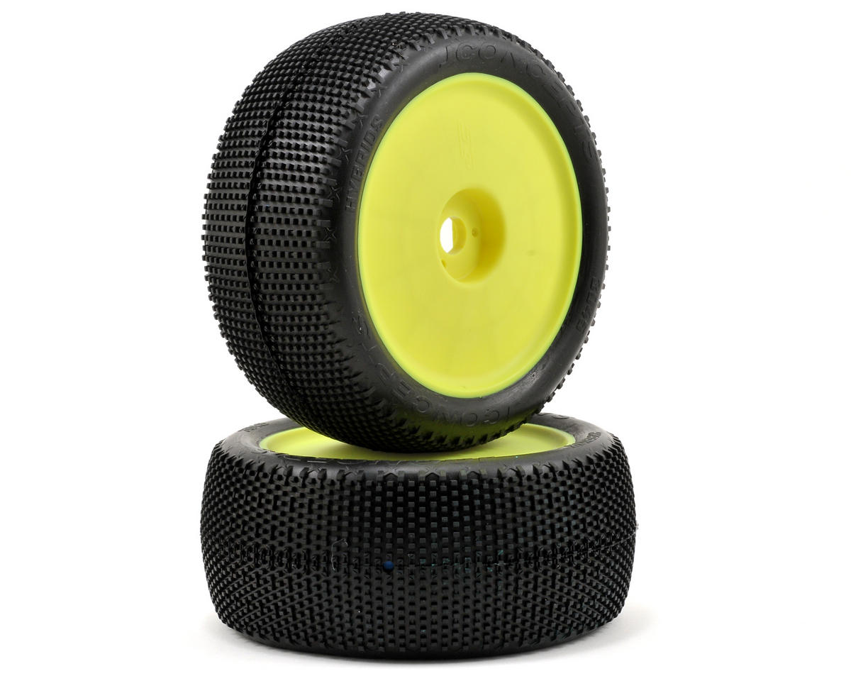 "SCRATCH & DENT: JConcepts Hybrid ""Elevated"" Pre-Mounted 1/8th Truggy Tires (2) (Yellow) (Green)"
