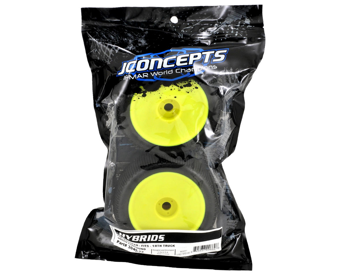 "JConcepts Hybrid ""Elevated"" Pre-Mounted 1/8th Truggy Tires (2) (Yellow)"