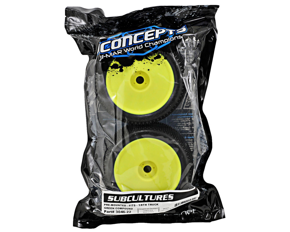 "JConcepts Subcultures ""EB"" Pre-Mounted 1/8th Truggy Tires (2) (Yellow)"