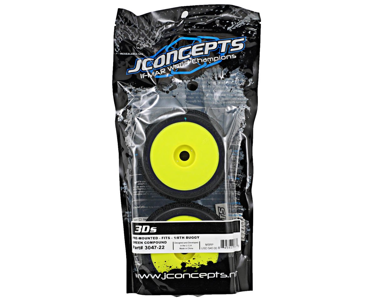 JConcepts 3D's Pre-Mounted 1/8th Buggy Tires (2) (Yellow)