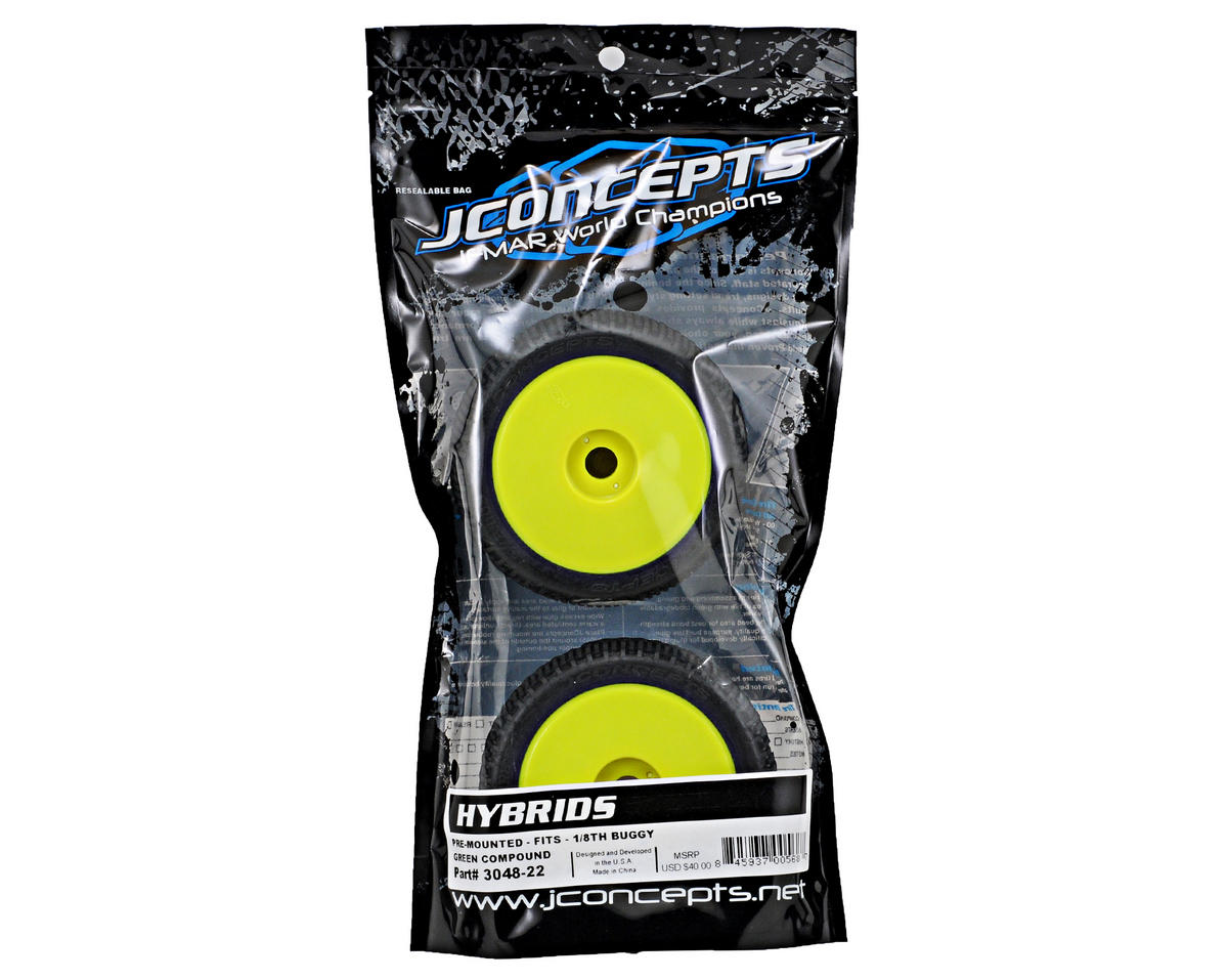 JConcepts Hybrid Pre-Mounted 1/8th Buggy Tires (2) (Yellow) (Green)