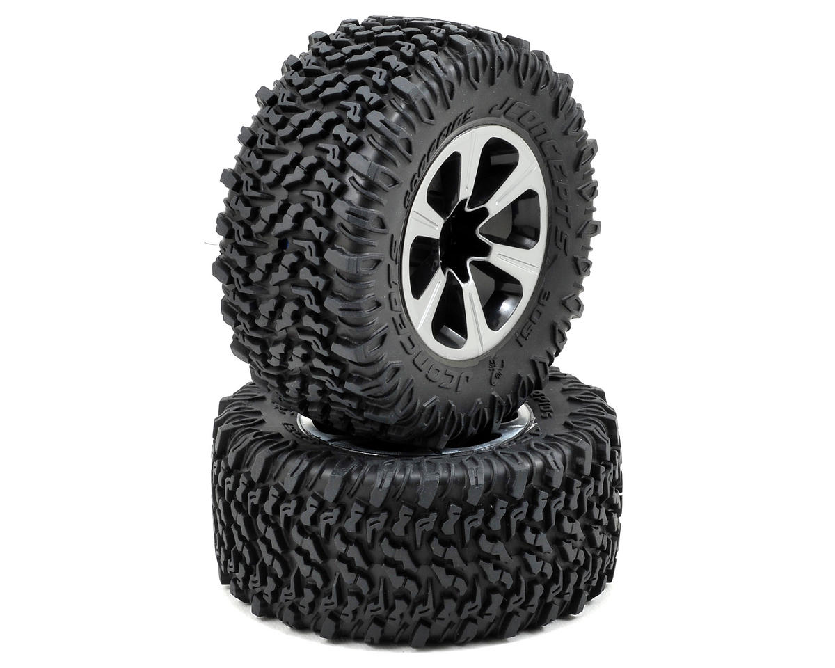 JConcepts Scorpios Pre-Mounted SC Tires w/Hustle Wheel (2) (Slash Rear) (Green)