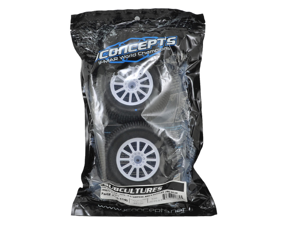 "Subcultures 2.8"" Pre-Mounted w/Rulux Electric Rear Wheels (2) (Black) (White) (Blue) by JConcepts"