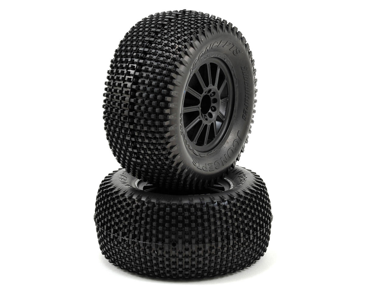 "JConcepts Subcultures 2.8"" Pre-Mounted (Rulux) Rear Wheels (2) (Black) (Blue)"
