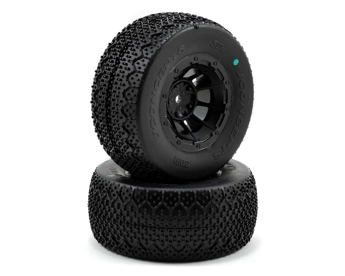 JConcepts 3D's Pre-Mounted SC Tires (Hazard) (2) (SC6/Slash/Blitz) (Green)