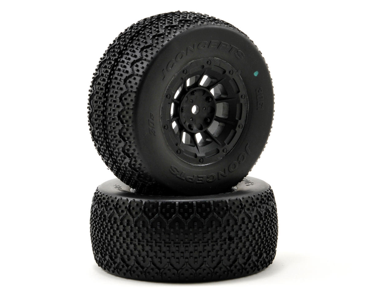 3D's Pre-Mounted SC Tires (Hazard) (2) (SC5M) (Green) by JConcepts