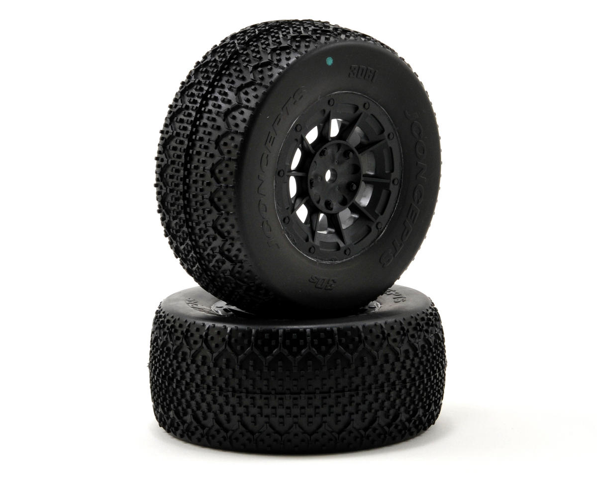JConcepts 3D's Pre-Mounted SC Tires (Hazard) (2) (22SCT/TEN-SCTE) (Green)