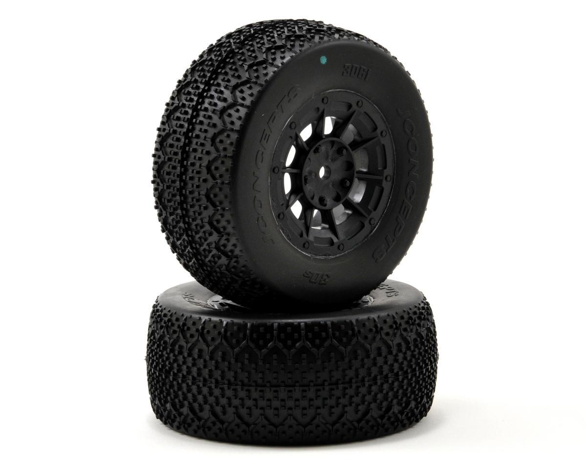3D's Pre-Mounted SC Tires (Hazard) (2) (22SCT/TEN-SCTE) (Green) by JConcepts