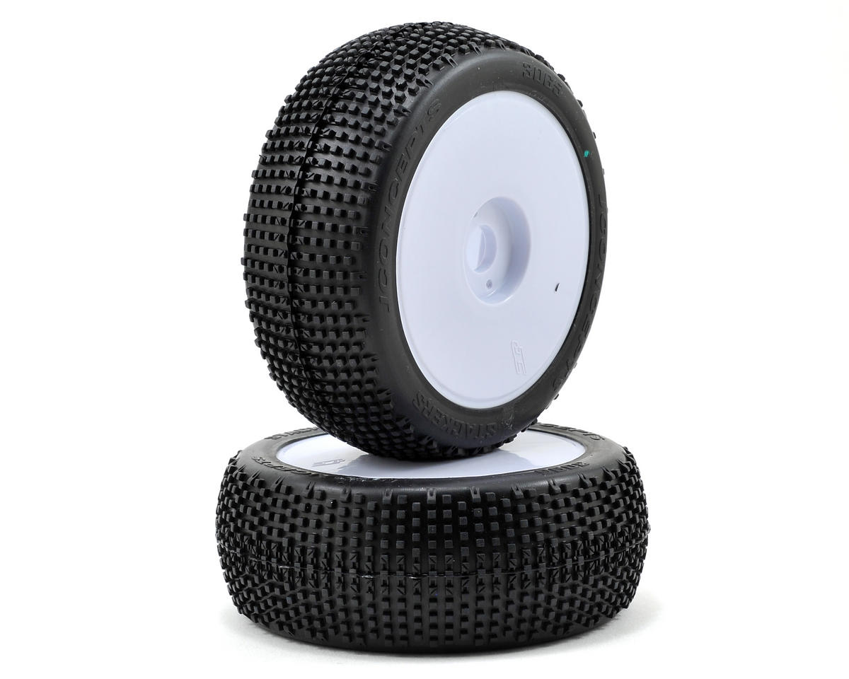 JConcepts Stackers Pre-Mounted 1/8th Buggy Tires (2) (White)