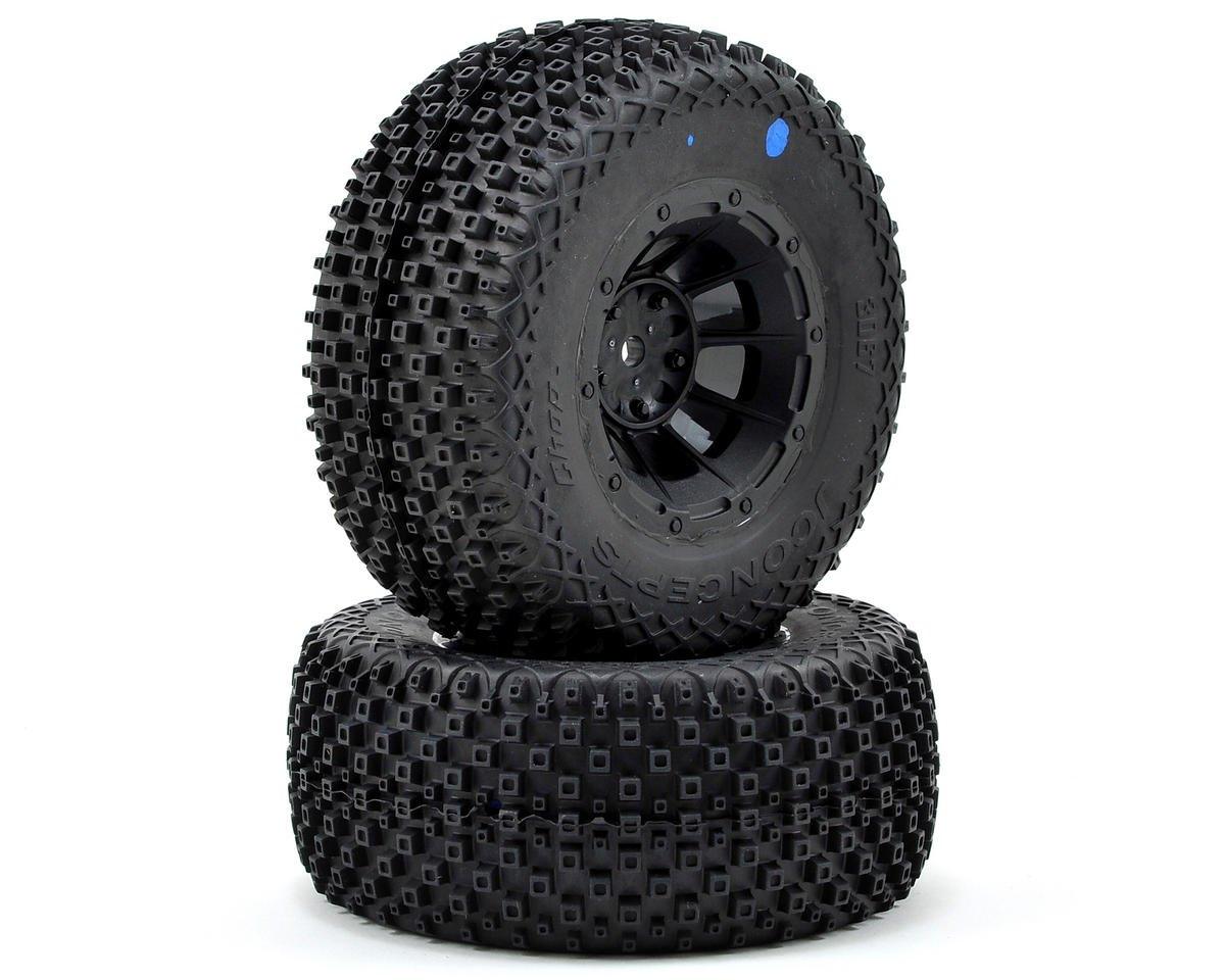 Choppers Pre-Mounted SC Tires (Hazard) (2) (Slash Front) (Blue) by JConcepts