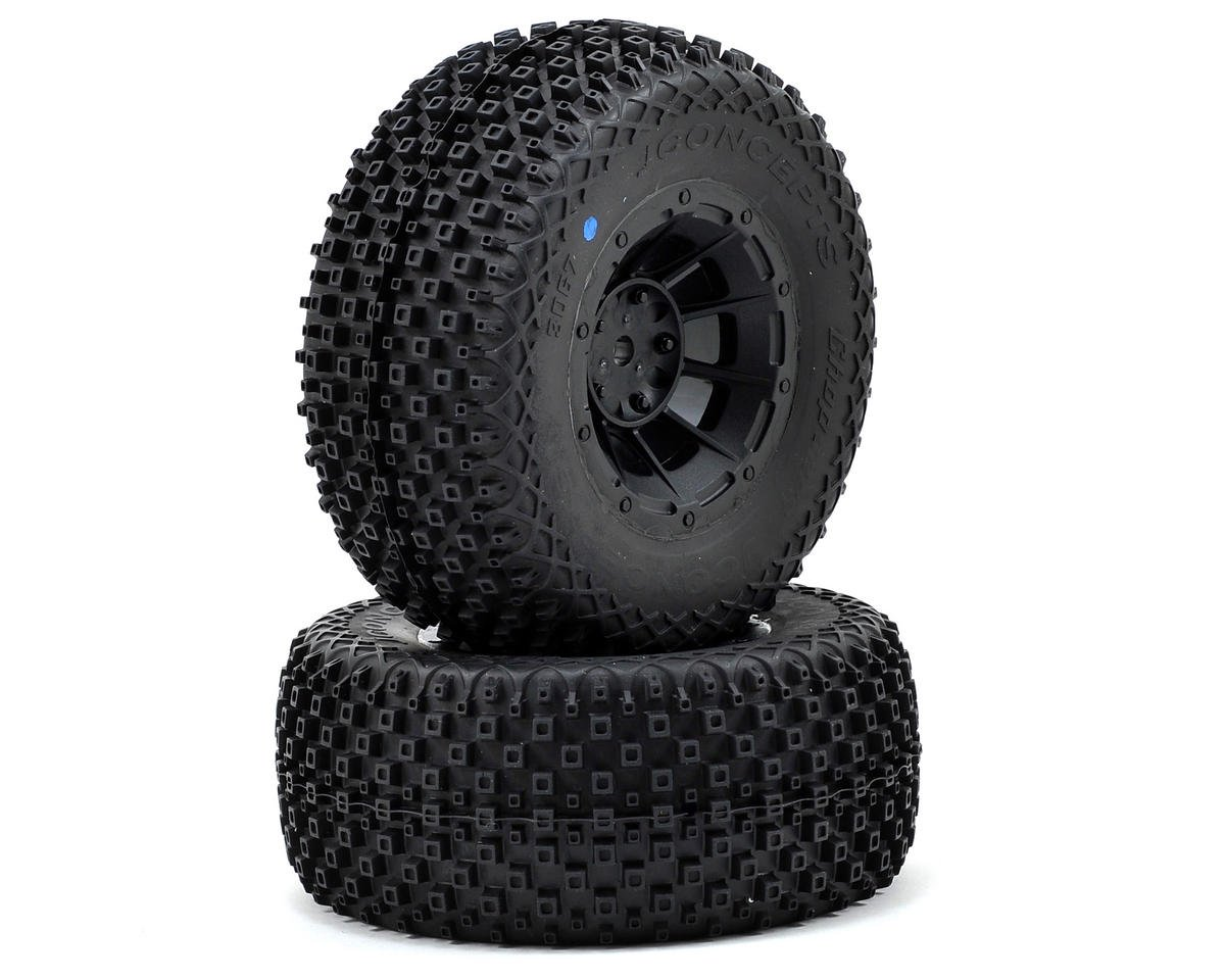 Choppers Pre-Mounted SC Tires (Hazard) (2) (SC6/Slash/Blitz) (Blue) by JConcepts