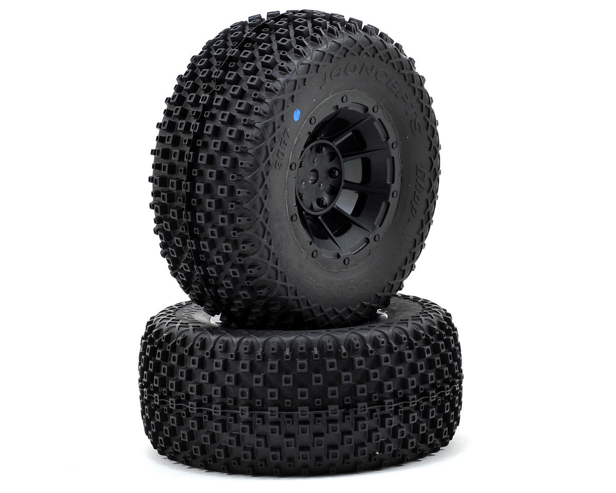 JConcepts Choppers Pre-Mounted SC Tires (Hazard) (2) (SC6/Slash/Blitz) (Blue)