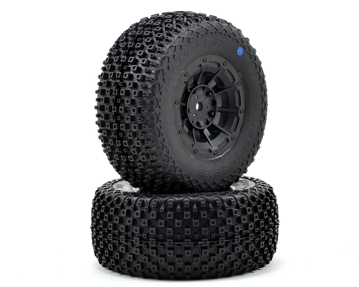 JConcepts Choppers Pre-Mounted SC Tires (Hazard) (2) (SC5M) (Black) (Team Associated SC10 4x4)