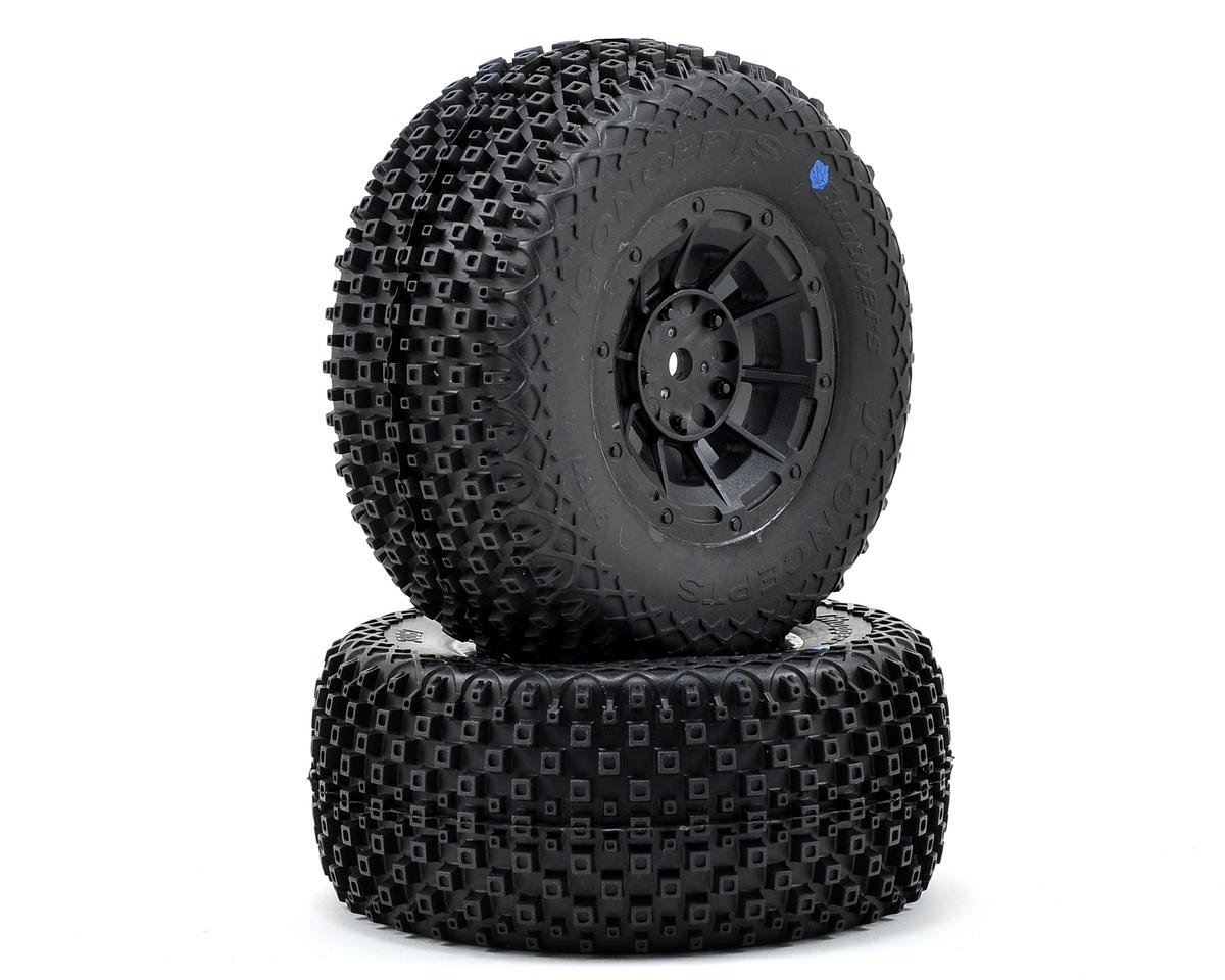 JConcepts Choppers Pre-Mounted SC Tires (Hazard) (2) (SC5M) (Black) (Team Associated SC10.2)