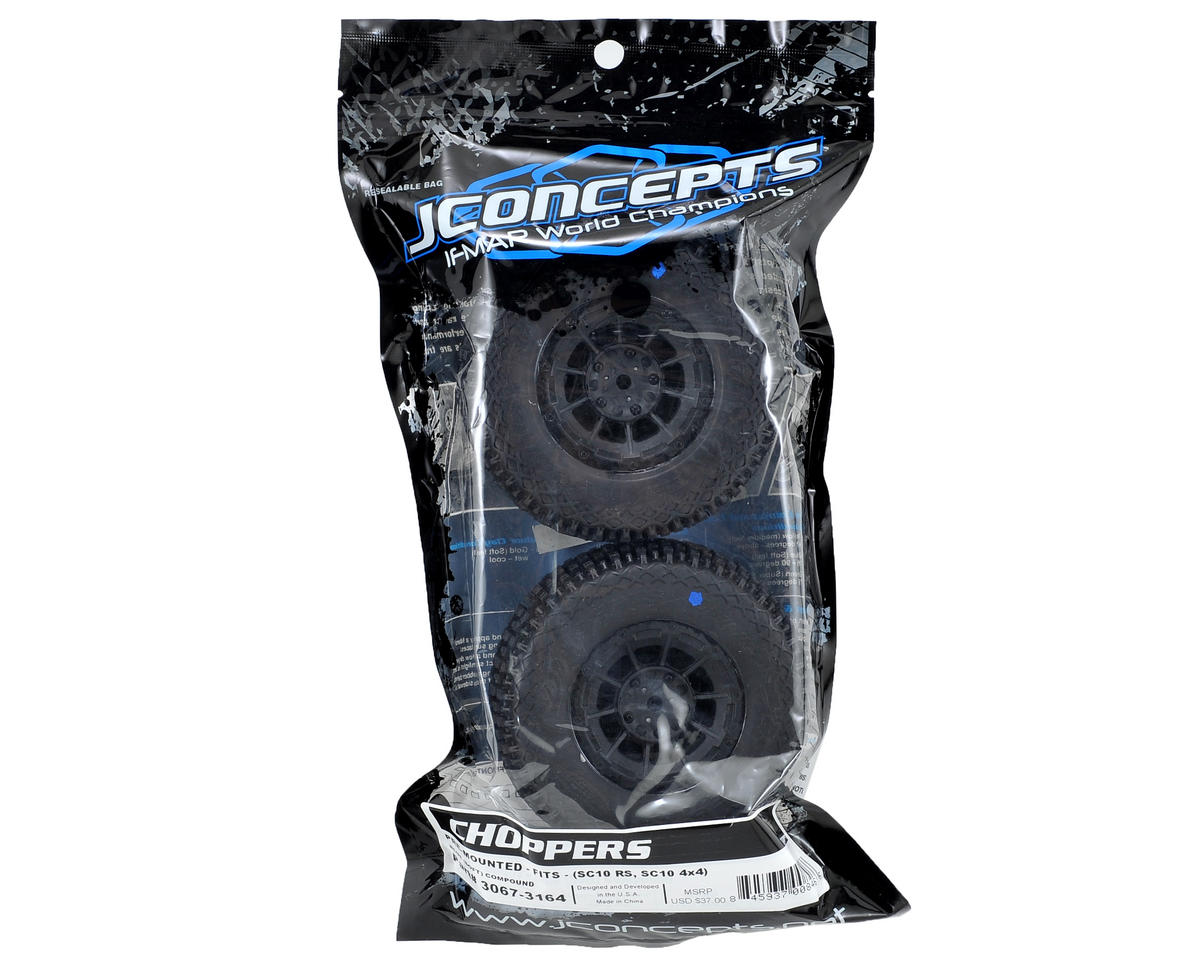 Choppers Pre-Mounted SC Tires (Hazard) (2) (SC5M) (Black) (Blue) by JConcepts