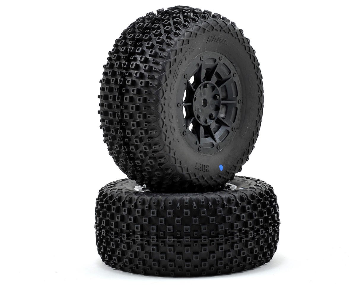JConcepts Choppers Pre-Mounted SC Tires (Hazard) (2) (22SCT/TEN-SCTE) (Losi TEN-SCTE 2.0)