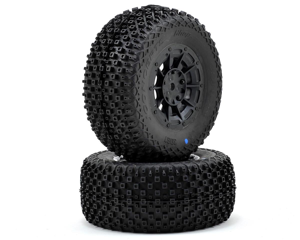 JConcepts Choppers Pre-Mounted SC Tires (Hazard) (2) (22SCT/TEN-SCTE) (Blue)