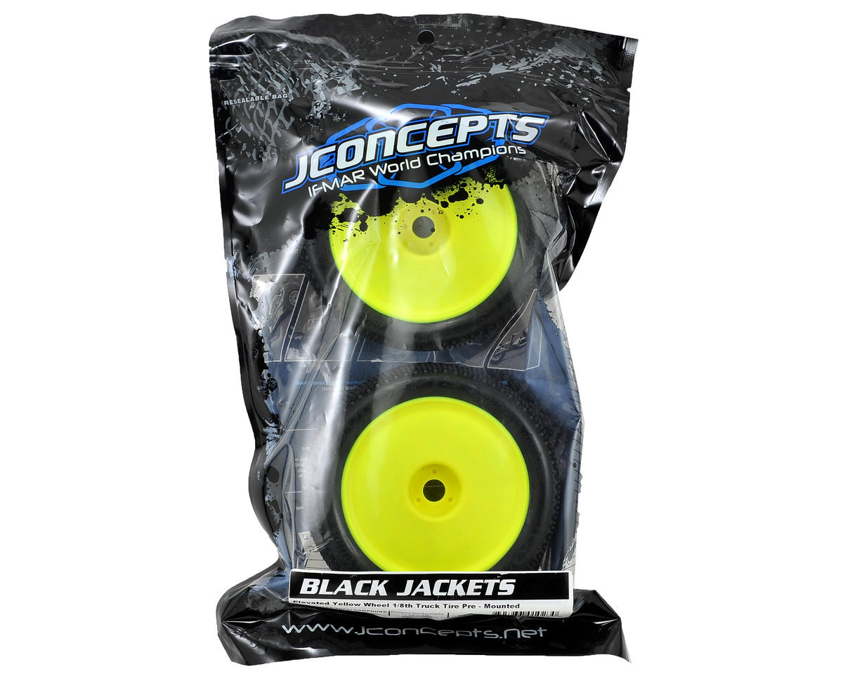 "Image 2 for JConcepts Black Jackets ""EB"" Pre-Mounted 1/8th Truggy Tires (2) (Yellow) (Green)"