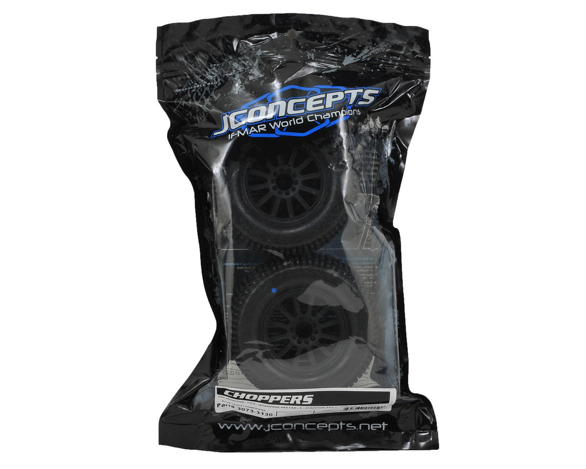 JConcepts Choppers 2.8 Pre-Mounted (Rulux) Front Wheels (2) (Black) (Blue)