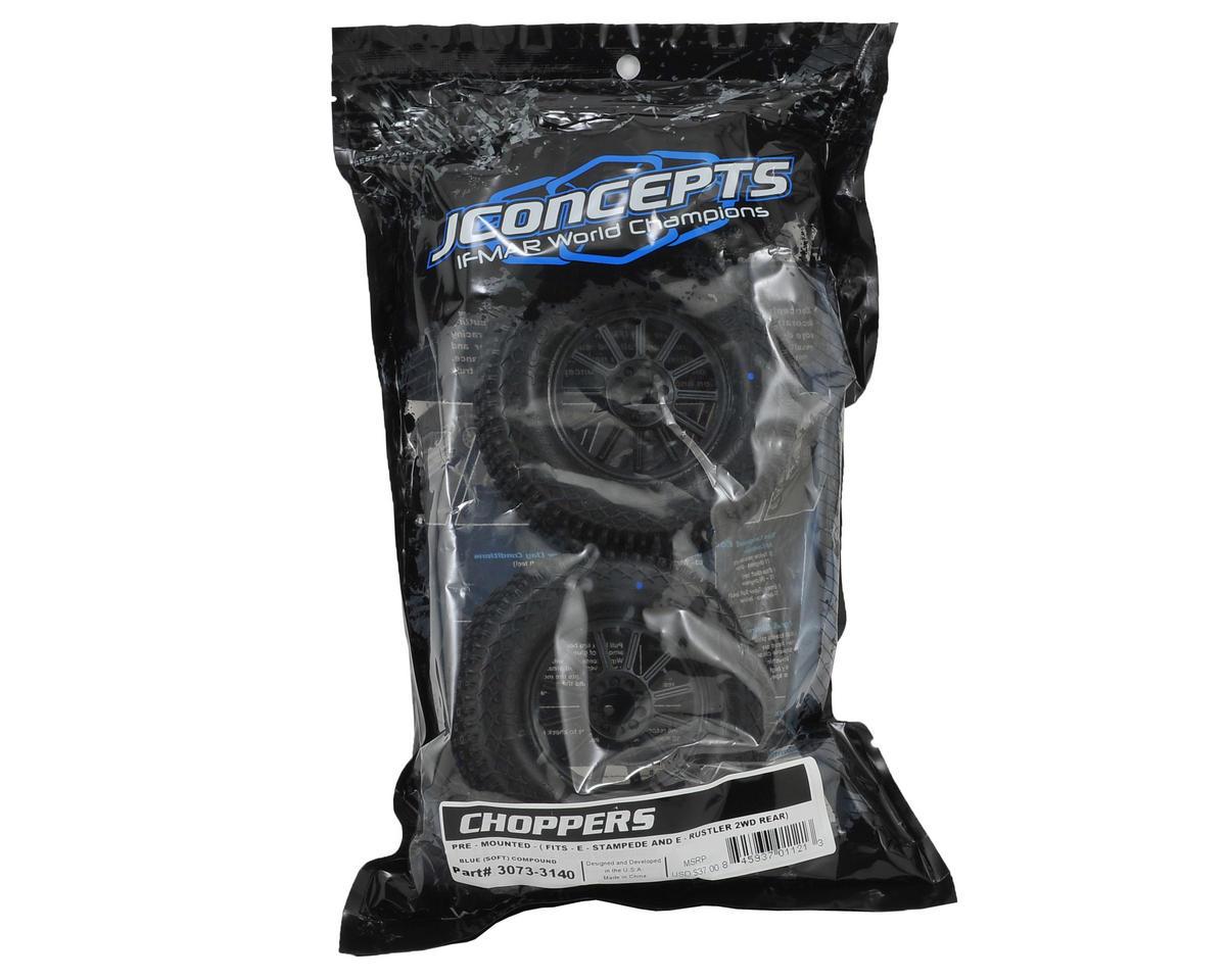 JConcepts Choppers 2.8 Pre-Mounted (Rulux) Rear Wheels (2) (Black) (Blue)