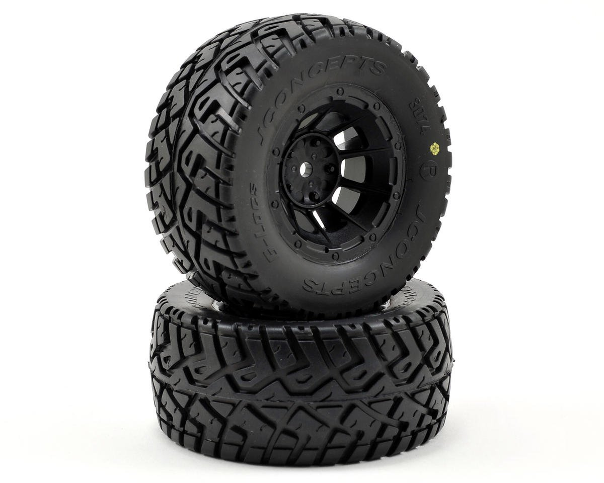 G-Locs Pre-Mounted SC Tires (Hazard) (2) (Slash Front) (Yellow) by JConcepts