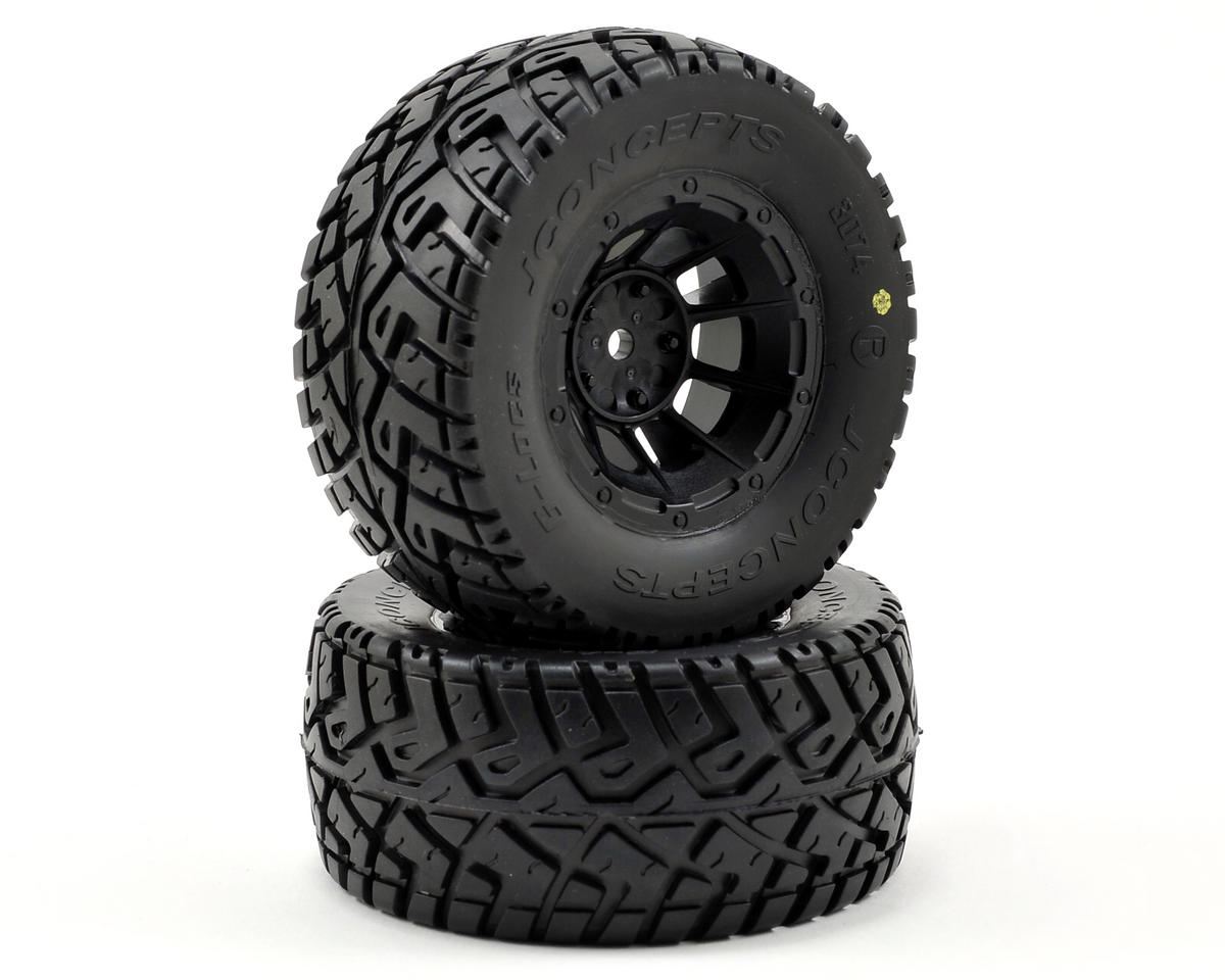 G-Locs Pre-Mounted SC Tires (Hazard) (2) (Slash Rear) (Yellow) by JConcepts