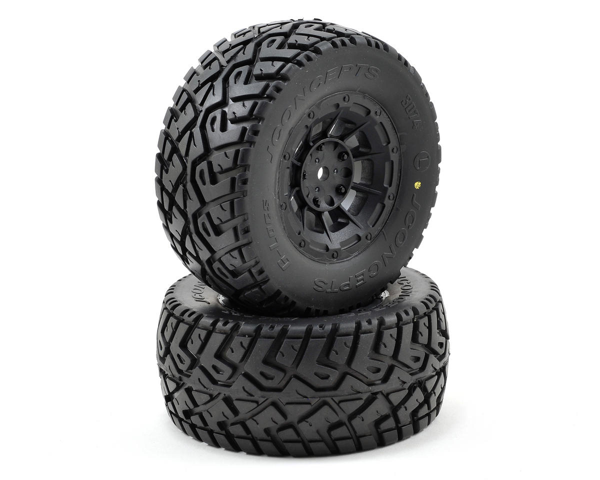 JConcepts G-Locs Pre-Mounted SC Tires (Hazard) (2) (SC5M) (Team Associated SC10 4x4)
