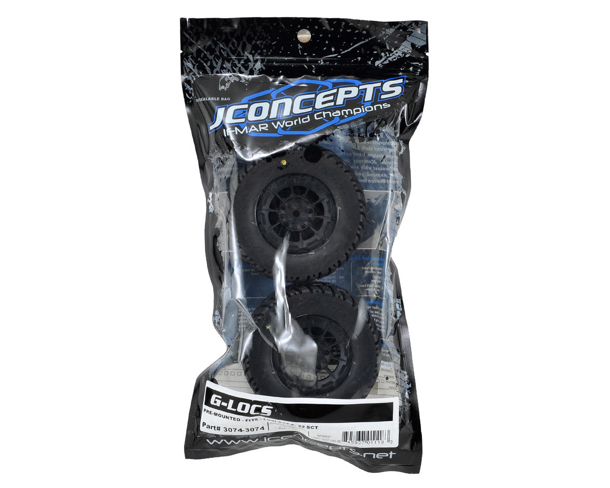 JConcepts G-Locs Pre-Mounted SC Tires (Hazard) (2) (22SCT/TEN-SCTE) (Yellow)