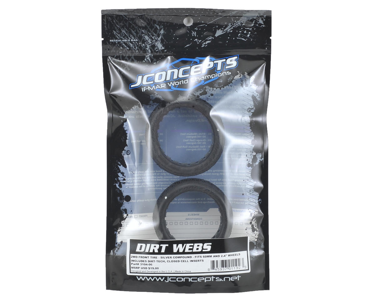 JConcepts Dirt Webs 60mm 2WD Front Buggy Tires (2) (Silver)