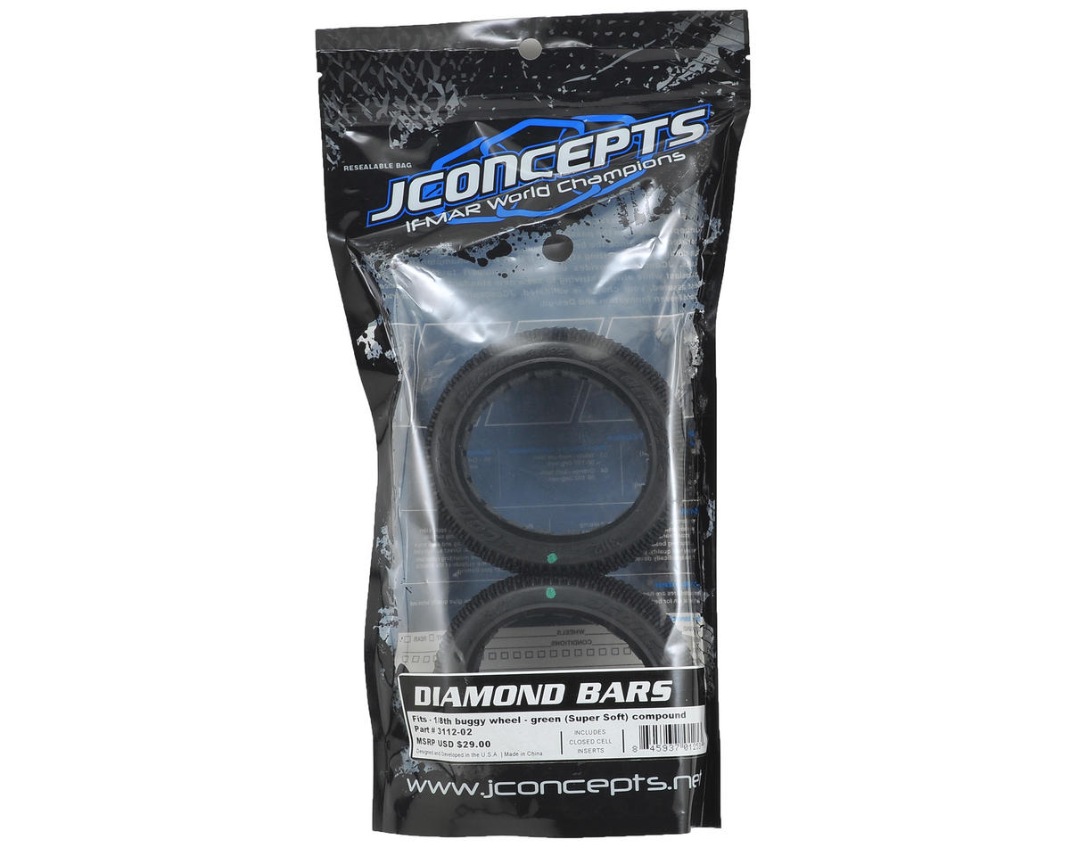 JConcepts Diamond Bars 1/8 Buggy Tires (2) (Green)