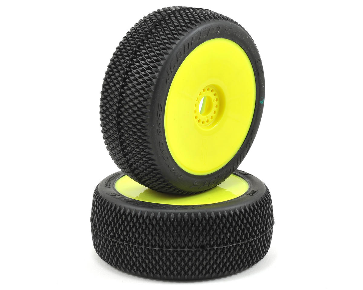 JConcepts Diamond Bars Pre-Mounted 1/8th Buggy Tires (2) (Yellow) (Green)